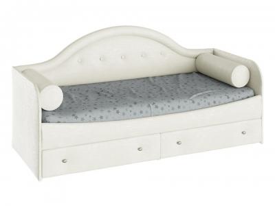 Кровать с мягкой спинкой Адель тип 1 с 2 подушками-валиками Крем