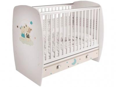 Кроватка детская Polini kids Simple 710, Лучшие друзья, с ящиком, белый