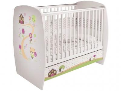 Кроватка детская Polini kids Simple 710 Пряничный домик, с ящиком, белый