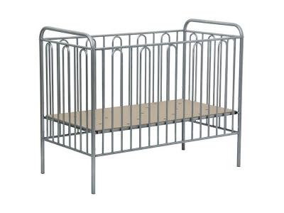 Кроватка детская Polini kids Vintage 110 металлическая, серебро