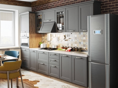 Кухонный гарнитур Одри 3,0 Серый шелк
