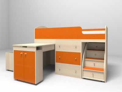 Кровать-чердак Малыш дуб-оранжевый