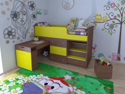Кровать-чердак Малыш итальянский орех-лайм