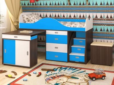 Кровать-чердак Малыш Люкс белое дерево-голубой