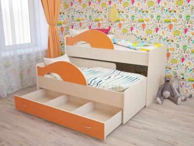 Кровать выкатная Матрешка с ящиками дуб-оранж