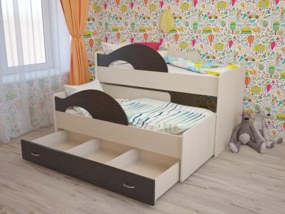 Кровать выкатная Матрешка с ящиками дуб-венге
