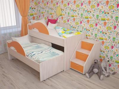 Кровать выкатная Матрешка с лесенкой дуб-оранж