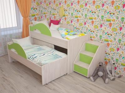 Кровать выкатная Матрешка с лесенкой дуб-зеленый
