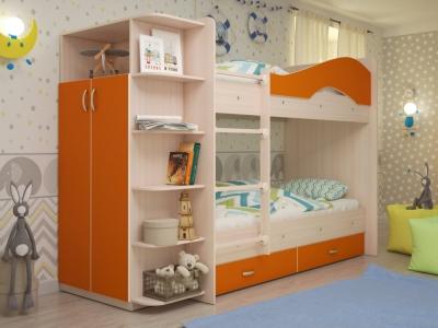 Кровать двухъярусная Мая со шкафом и ящиками дуб-оранжевый