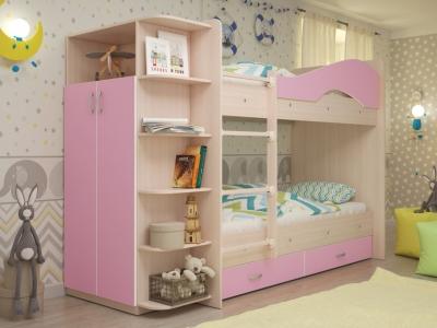 Кровать двухъярусная Мая со шкафом и ящиками дуб-розовый