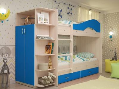 Кровать двухъярусная Мая со шкафом и ящиками дуб-синий