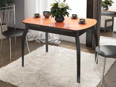 Стол обеденный раздвижной со стеклом Милан СМ-203.22.15 Венге Стекло оранжевое