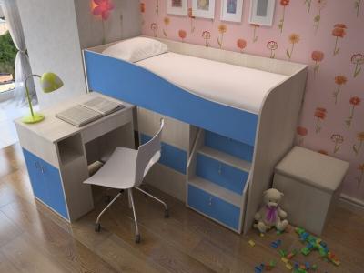 Кровать-чердак Мишка дуб-синий