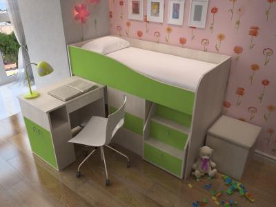 Кровать-чердак Мишка дуб-зеленый