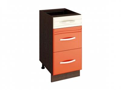Стол с 3 ящиками плавное закрывание 09.90 Оранж 400х530х820
