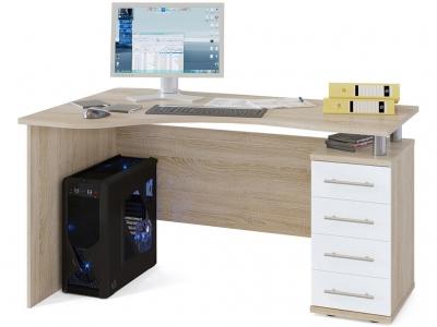 Письменный стол Сокол КСТ-104.1 правый Дуб Сонома/Белый