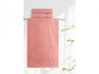 Полотенце Aquarelle 35/70 Бабочки Розово-персиковый