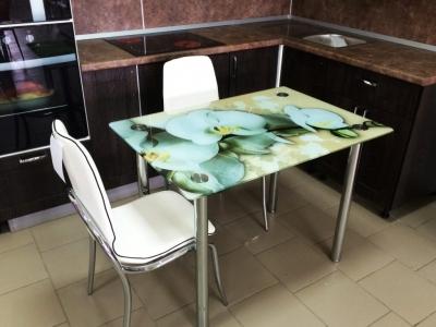 Стол со стеклом Премиум Белая орхидея 1000х700
