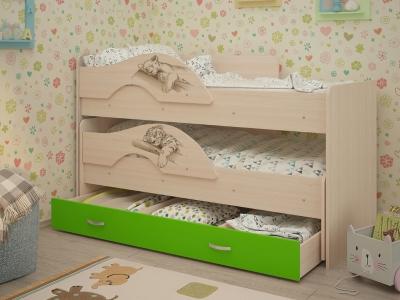 Кровать выкатная Матрешка-Сафари с ящиками дуб-зеленый