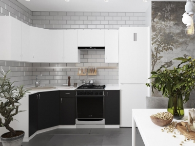 Угловой кухонный гарнитур Роза 2100 с мойкой и сушкой ГКУСМ2100-5.5_7.2