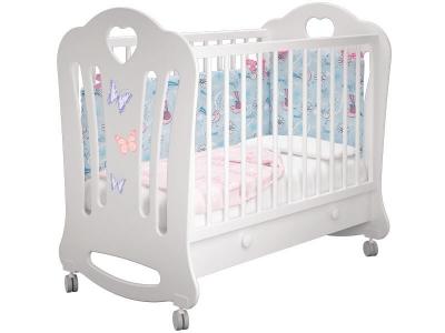 Кроватка детская Шарлотта 1 Бабочки Белая с ящиком