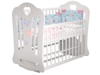 Кроватка детская Шарлотта 2 Бабочки Белая с маятником