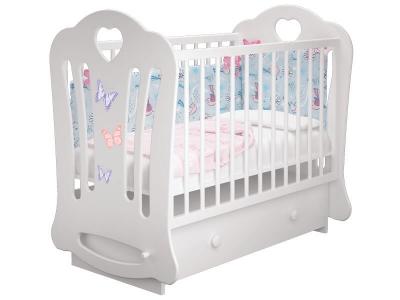 Кроватка детская Шарлотта 3 Бабочки Белая маятник с ящиком