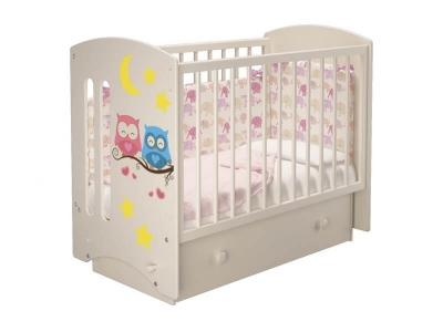 Кроватка детская Софи 3 Совята Слоновая кость с ящиком и маятником