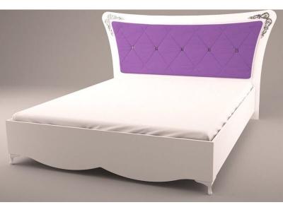 Кровать с мягкой спинкой Аделина Белый глянец-Серебро