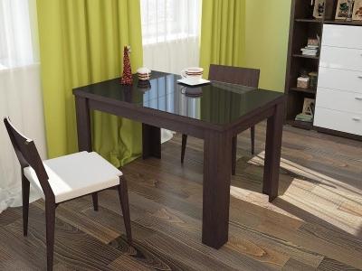 Стол обеденный Бостон раскладной со стеклом Черное стекло-венге