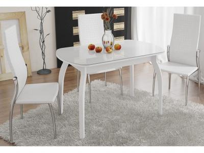 Стол обеденный раздвижной Ницца СМ-217.01.15 Белый, стекло с рисунком