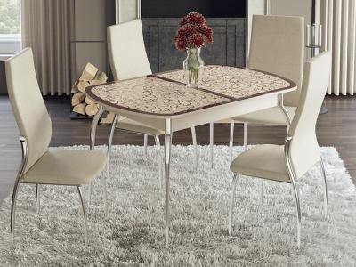 Стол обеденный раздвижной Сидней СМ-219.01.01 Дуб Белфорт, стекло с рисунком