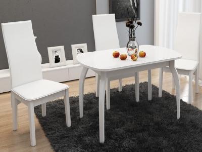 Стол обеденный раздвижной со стеклом Милан СМ-203.22.15 Белый глянец