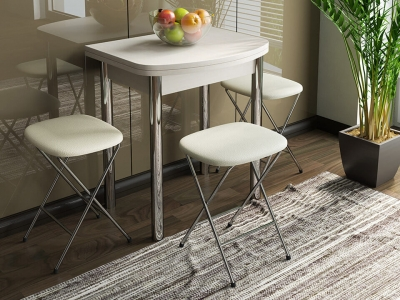 Стол обеденный с хром. ножками Лион мини СМ-204.01.2 Дуб Белфорт