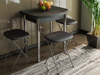 Стол обеденный с хром. ножками Лион мини СМ-204.01.2 Венге