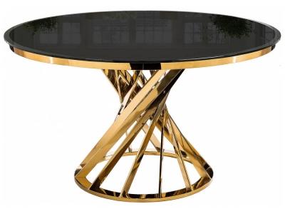 Стол стеклянный Twist gold - black