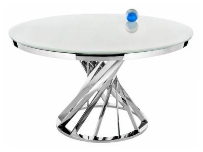 Стол стеклянный Twist steel - white