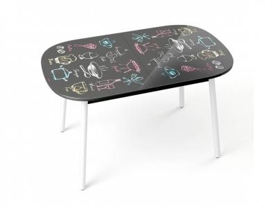 Стол обеденный Винтаж черный микс с рисунком