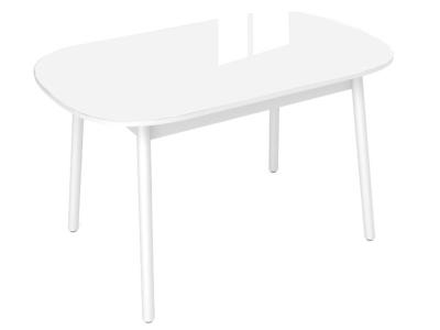 Стол обеденный Винтаж с глянцевым стеклом белый