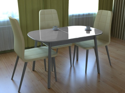 Стол обеденный Винтаж с глянцевым стеклом серый