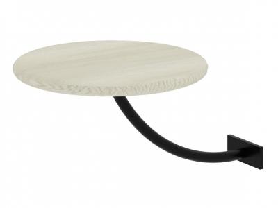 Полка прикроватная круглая Милсон белая-металл черный