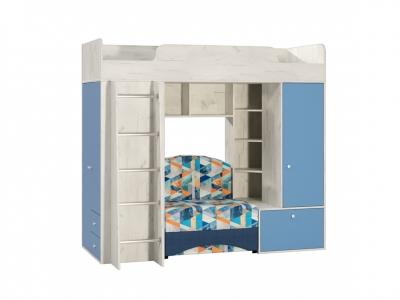 Кровать-чердак универсальная сборка Тетрис 366 2051х1111-2100х1861 Капри синий