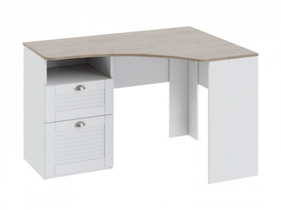 Угловой письменный стол с ящиками Ривьера ТД-241.15.03 Дуб Бонифацио, Белый