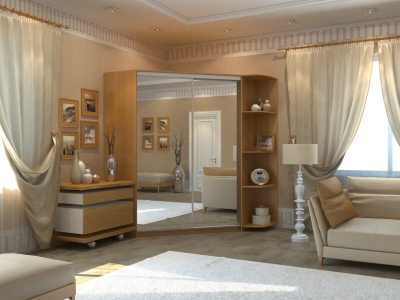 Угловой шкаф-купе Анна с 2-мя зеркалами и угловым элементом миланский орех