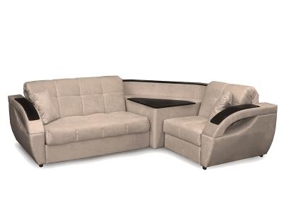 Угловой диван Бридж 2 вариант Темно бежевый велюр
