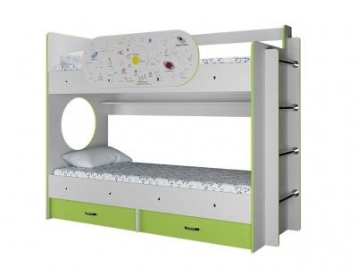 Двухъярусная кровать Умка с ящиками и одним бортиком Созвездие лайм
