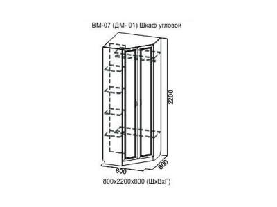 Вега ВМ07 Шкаф угловой 800x800x2200 мм