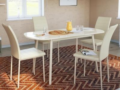 Стол обеденный Винтаж с глянцевым стеклом бежевый